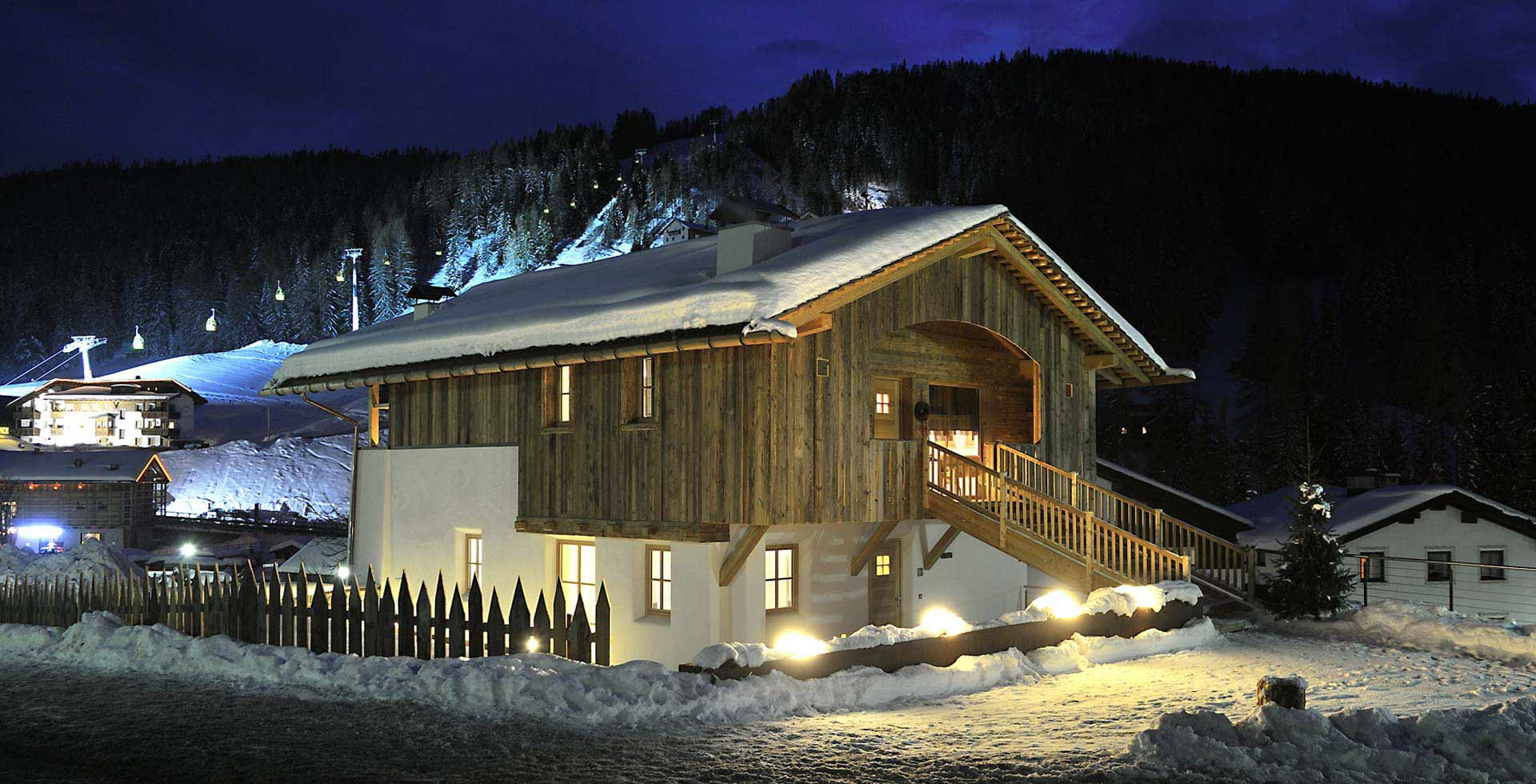 Winter snow chalet ski experience